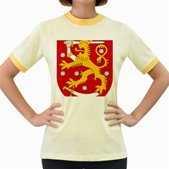 Coat of Arms of Finland Women s Fitted Ringer T-Shirts