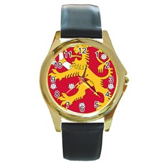 Coat of Arms of Finland Round Gold Metal Watch