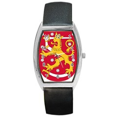 Coat of Arms of Finland Barrel Style Metal Watch