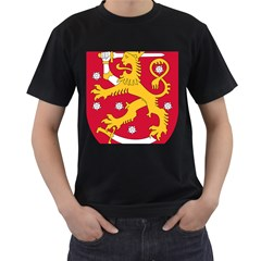 Coat of Arms of Finland Men s T-Shirt (Black) (Two Sided)