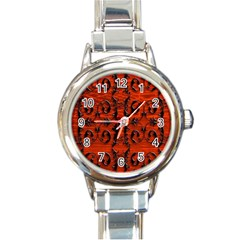 3d Metal Pattern On Wood Round Italian Charm Watch