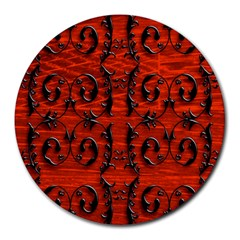3d Metal Pattern On Wood Round Mousepads