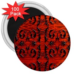 3d Metal Pattern On Wood 3  Magnets (100 pack)