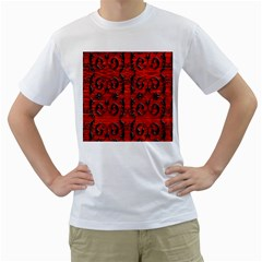 3d Metal Pattern On Wood Men s T Shirt (white) (two Sided)