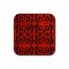 3d Metal Pattern On Wood Rubber Coaster (square)