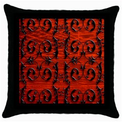 3d Metal Pattern On Wood Throw Pillow Case (black)