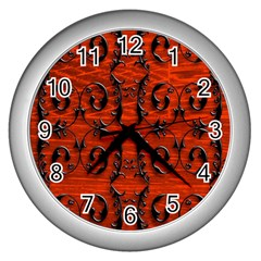 3d Metal Pattern On Wood Wall Clocks (silver)