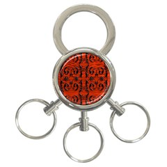 3d Metal Pattern On Wood 3 Ring Key Chains