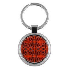 3d Metal Pattern On Wood Key Chains (round)