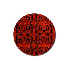 3d Metal Pattern On Wood Rubber Round Coaster (4 Pack)