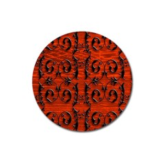 3d Metal Pattern On Wood Magnet 3  (round)