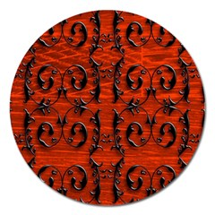 3d Metal Pattern On Wood Magnet 5  (round)