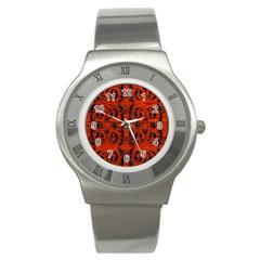 3d Metal Pattern On Wood Stainless Steel Watch