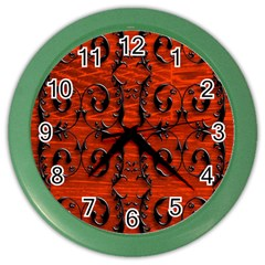 3d Metal Pattern On Wood Color Wall Clocks