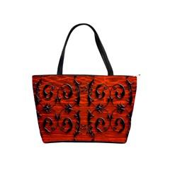 3d Metal Pattern On Wood Shoulder Handbags
