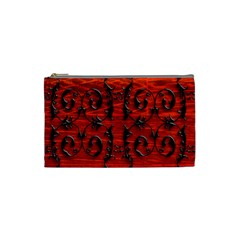 3d Metal Pattern On Wood Cosmetic Bag (small)