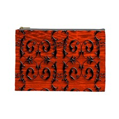 3d Metal Pattern On Wood Cosmetic Bag (large)
