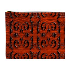 3d Metal Pattern On Wood Cosmetic Bag (xl)