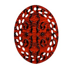 3d Metal Pattern On Wood Oval Filigree Ornament (two Sides)