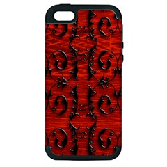 3d Metal Pattern On Wood Apple iPhone 5 Hardshell Case (PC+Silicone)