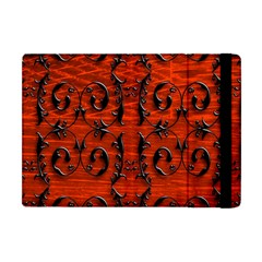 3d Metal Pattern On Wood Apple Ipad Mini Flip Case