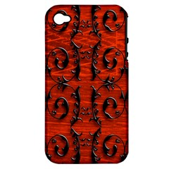 3d Metal Pattern On Wood Apple Iphone 4/4s Hardshell Case (pc+silicone)