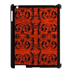 3d Metal Pattern On Wood Apple iPad 3/4 Case (Black)