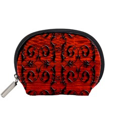 3d Metal Pattern On Wood Accessory Pouches (small)