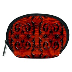 3d Metal Pattern On Wood Accessory Pouches (medium)