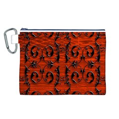 3d Metal Pattern On Wood Canvas Cosmetic Bag (l)