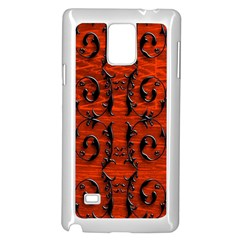 3d Metal Pattern On Wood Samsung Galaxy Note 4 Case (White)