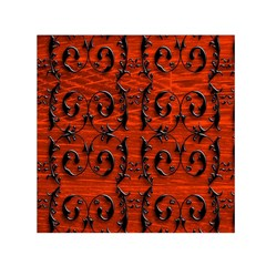 3d Metal Pattern On Wood Small Satin Scarf (square)