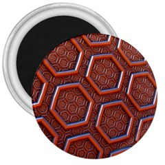 3d Abstract Patterns Hexagons Honeycomb 3  Magnets