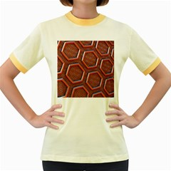3d Abstract Patterns Hexagons Honeycomb Women s Fitted Ringer T Shirts