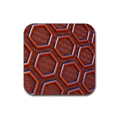 3d Abstract Patterns Hexagons Honeycomb Rubber Square Coaster (4 Pack)