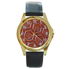 3d Abstract Patterns Hexagons Honeycomb Round Gold Metal Watch