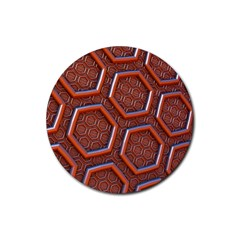 3d Abstract Patterns Hexagons Honeycomb Rubber Round Coaster (4 Pack)