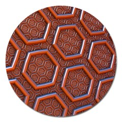 3d Abstract Patterns Hexagons Honeycomb Magnet 5  (Round)