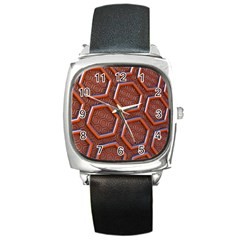 3d Abstract Patterns Hexagons Honeycomb Square Metal Watch