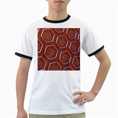 3d Abstract Patterns Hexagons Honeycomb Ringer T-Shirts