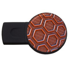3d Abstract Patterns Hexagons Honeycomb Usb Flash Drive Round (4 Gb)