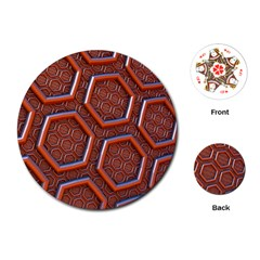 3d Abstract Patterns Hexagons Honeycomb Playing Cards (Round)