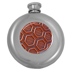 3d Abstract Patterns Hexagons Honeycomb Round Hip Flask (5 Oz)