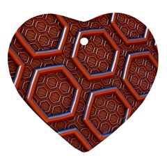 3d Abstract Patterns Hexagons Honeycomb Heart Ornament (Two Sides)