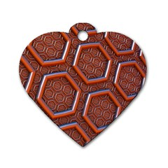 3d Abstract Patterns Hexagons Honeycomb Dog Tag Heart (Two Sides)