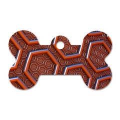 3d Abstract Patterns Hexagons Honeycomb Dog Tag Bone (two Sides)
