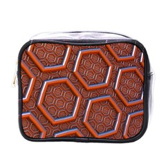 3d Abstract Patterns Hexagons Honeycomb Mini Toiletries Bags