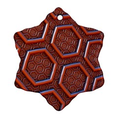 3d Abstract Patterns Hexagons Honeycomb Snowflake Ornament (two Sides)