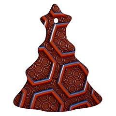 3d Abstract Patterns Hexagons Honeycomb Christmas Tree Ornament (two Sides)