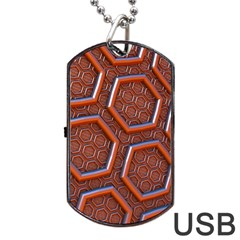 3d Abstract Patterns Hexagons Honeycomb Dog Tag USB Flash (One Side)